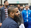 Far right activists protesting outside Regent's Park Mosque in Central London, Great Britain <br /> 3rd April 2015 <br /> <br /> Abu Saalihah<br /> <br /> Muslim preacher Abu Saalihah outside the Mosque addressing worshipers and the media in the run up to the General Election advising them &quot;Why it is strictly forbidden to vote in Islam&quot;. <br /> <br /> Photograph by Elliott Franks <br /> Image licensed to Elliott Franks Photography Services