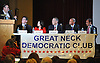 Democratic candidates vying for the 3rd Congressional District seat appear at a party debate at Great Neck House on Tuesday, May 17, 2016. Seated, from left, are Jonathan Clarke, Anna Kaplan, Jon Kaiman, Steve Stern and Tom Suozzi.