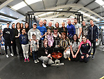 Liam O'Keefe who performed 3019 reps in less than an hour in Integral Gym to raise funds for Hannah The Princess Warrior pictured with Mayor of Drogheda Frank Godfrey, Family, friends and gym staff. Photo:Colin Bell/pressphotos.ie