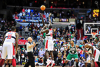 Kevin Garnett of the Celtics wins the tip-off against Emeka Okafor of the Wizards at the Verizon Center in Washington, D.C. on Saturday, November 3, 2012.  Alan P. Santos/DC Sports Box