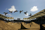 Mike Mason competes during the Moto X Freestyle finals during X-Games 12 in Los Angeles, California on August 6, 2006.