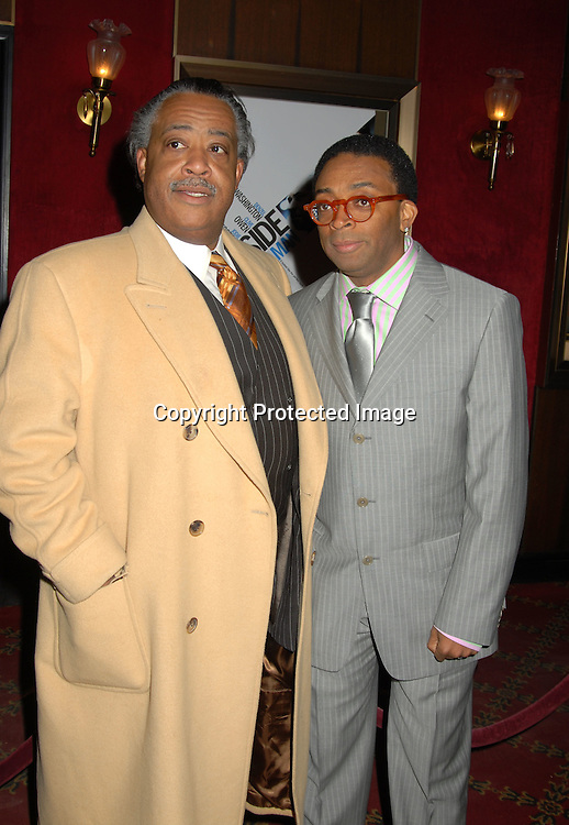 """Reverend Al Sharpton and Spike Lee ..at The World Premiere of """"Inside Man"""" directed by Spike Lee on March 20, 2006 at The Ziegfeld Theatre. ..Robin Platzer, Twin Images"""