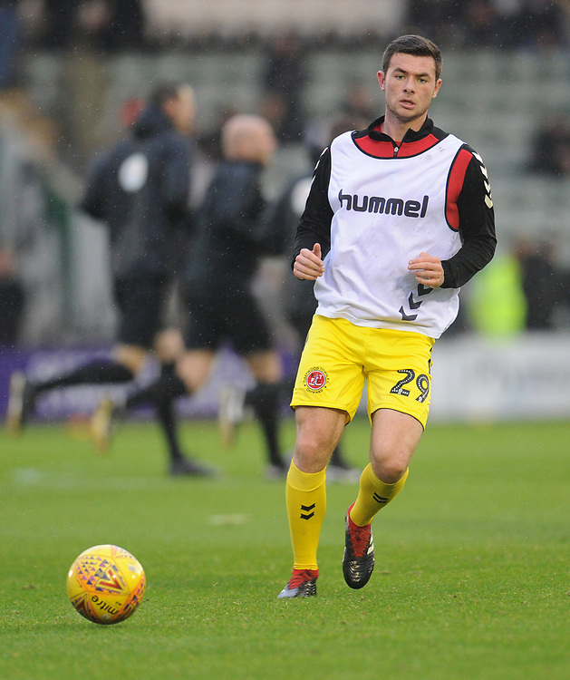 Fleetwood Town's Nathan Sheron during the pre-match warm-up <br /> <br /> Photographer Kevin Barnes/CameraSport<br /> <br /> The EFL Sky Bet League One - Plymouth Argyle v Fleetwood Town - Saturday 24th November 2018 - Home Park - Plymouth<br /> <br /> World Copyright © 2018 CameraSport. All rights reserved. 43 Linden Ave. Countesthorpe. Leicester. England. LE8 5PG - Tel: +44 (0) 116 277 4147 - admin@camerasport.com - www.camerasport.com