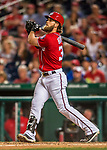 29 July 2017: Washington Nationals right fielder Bryce Harper in action against the Colorado Rockies at Nationals Park in Washington, DC. The Rockies defeated the Nationals 4-2 in the first game of their 3-game weekend series. Mandatory Credit: Ed Wolfstein Photo *** RAW (NEF) Image File Available ***