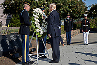 United States President Donald J. Trump, center, pauses after laying a wreath during a ceremony to commemorate the September 11, 2001 terrorist attacks, at the Pentagon in Washington, D.C., U.S., on Monday, Sept. 11, 2017. Trump is presiding over his first 9/11 commemoration on the 16th anniversary of the terrorist attacks that killed nearly 3,000 people when hijackers flew commercial airplanes into New York&Igrave;s World Trade Center, the Pentagon and a field near Shanksville, Pennsylvania. <br /> CAP/MPI/CNP/RS<br /> &copy;RS/CNP/MPI/Capital Pictures