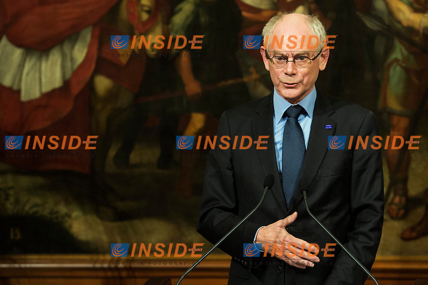 Herman Van Rompuy <br /> Roma 04-12-2013 Palazzo Chigi <br /> Meeting beetween Italian Prime Minister and European Council President . <br /> Incontro tra il Primo Ministro italiano e il Presidente del Consiglio della UE Unione Europea . <br /> Foto Andrea Staccioli / Insidefoto