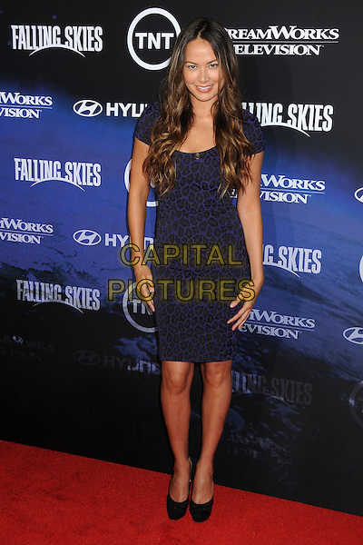 "Moon Bloodgood.TNT and Dreamworks Television's ""Falling Skies"" Premiere Screening held at the Pacific Design Center, West Hollywood, California, USA, .13th June 2011..full length blue dress leopard print animal black .CAP/ADM/BP.©Byron Purvis/AdMedia/Capital Pictures."