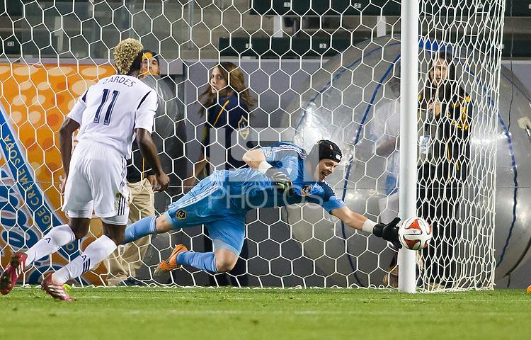 CARSON, California - February 22, 2014: The LA Galaxy defeated LA Galaxy II USL PRO side 3-0 during a friendly match at StubHub Center stadium.