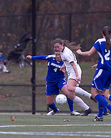 Boston College forward Brooke Knowlton (16) dribbles as Hofstra University defender Amy Turner (4) defends. Boston College defeated Hofstra University, 3-1, in second round NCAA tournament match at Newton Soccer Field, Newton, MA.
