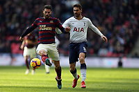Fabian Schar of Newcastle United and Fernando Llorente of Tottenham Hotspur during Tottenham Hotspur vs Newcastle United, Premier League Football at Wembley Stadium on 2nd February 2019