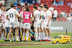 A DHL truck delivers the ball while the English team regroups for a time-out, during the match Australia vs England, the Bronze Final of Day 2 of the HSBC Singapore Rugby Sevens as part of the World Rugby HSBC World Rugby Sevens Series 2016-17 at the National Stadium on 16 April 2017 in Singapore. Photo by Victor Fraile / Power Sport Images