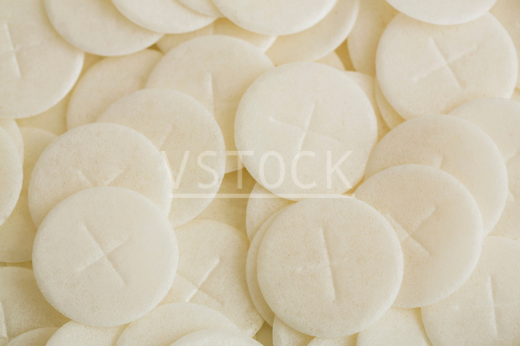 Close-up of communion wafers
