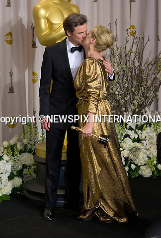 "MERYL STREEP PUCKERS UP TO COLIN FIRTH.Meryl Streep won the Best Actress Award at the 84th Academy Awards, Kodak Theatre, Hollywood, Los Angeles_26/02/2012.Mandatory Photo Credit: ©Dias/Newspix International..**ALL FEES PAYABLE TO: ""NEWSPIX INTERNATIONAL""**..PHOTO CREDIT MANDATORY!!: NEWSPIX INTERNATIONAL(Failure to credit will incur a surcharge of 100% of reproduction fees)..IMMEDIATE CONFIRMATION OF USAGE REQUIRED:.Newspix International, 31 Chinnery Hill, Bishop's Stortford, ENGLAND CM23 3PS.Tel:+441279 324672  ; Fax: +441279656877.Mobile:  0777568 1153.e-mail: info@newspixinternational.co.uk"