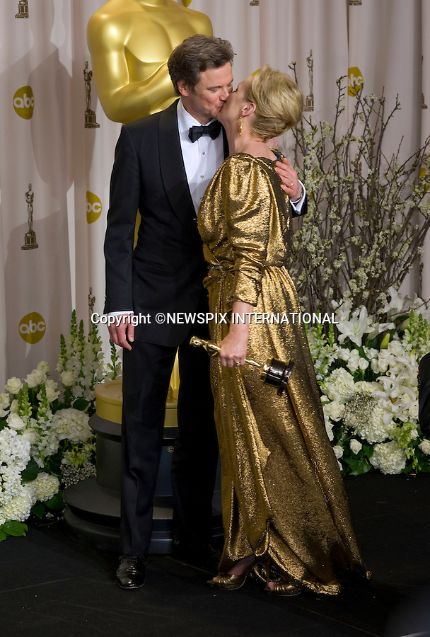 """MERYL STREEP PUCKERS UP TO COLIN FIRTH.Meryl Streep won the Best Actress Award at the 84th Academy Awards, Kodak Theatre, Hollywood, Los Angeles_26/02/2012.Mandatory Photo Credit: ©Dias/Newspix International..**ALL FEES PAYABLE TO: """"NEWSPIX INTERNATIONAL""""**..PHOTO CREDIT MANDATORY!!: NEWSPIX INTERNATIONAL(Failure to credit will incur a surcharge of 100% of reproduction fees)..IMMEDIATE CONFIRMATION OF USAGE REQUIRED:.Newspix International, 31 Chinnery Hill, Bishop's Stortford, ENGLAND CM23 3PS.Tel:+441279 324672  ; Fax: +441279656877.Mobile:  0777568 1153.e-mail: info@newspixinternational.co.uk"""