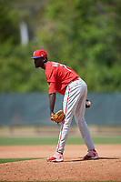 Philadelphia Phillies pitcher Oscar Marcelino (70) looks in for the sign during a minor league Spring Training game against the Pittsburgh Pirates on March 24, 2017 at Carpenter Complex in Clearwater, Florida.  (Mike Janes/Four Seam Images)