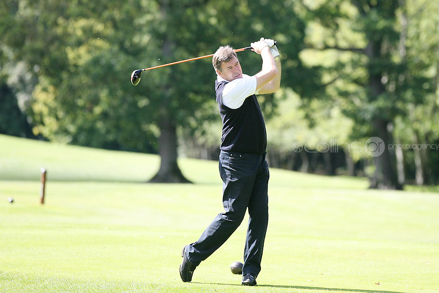 NO REPRO FEE. 27/9/2010. SBHI GOLF CLASSIC.  Packie Bonner is pictured teeing off as they aim for a hole in one at the Annual Packie Bonner Spina Bifida Hydrocephalus Ireland Golf Classic which took place in Palmerstown House Estate, at Johnstown, County Kildare. Pictrure James Horan/Collins