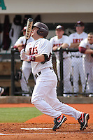 Michael Seaborn #5 of the Virginia Tech Hokies at bat during a game against the University of Indiana Hoosiers at Watson Stadium at Vrooman Field in Conway, South Carolina on February 18, 2011. Photo by Robert Gurganus/Four Seam Images