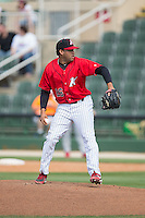 Kannapolis Intimidators relief pitcher Kelvis Valerio (26) in action against the Lakewood BlueClaws at CMC-Northeast Stadium on May 17, 2015 in Kannapolis, North Carolina.  The Intimidators defeated the BlueClaws 4-1.  (Brian Westerholt/Four Seam Images)