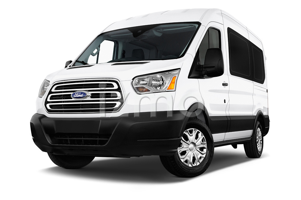 Stock pictures of low aggressive front three quarter view of a 2019 Ford Transit Wagon 150 XLT Wagon Med Roof Sliding Pass. 130 5 Door Passenger Van
