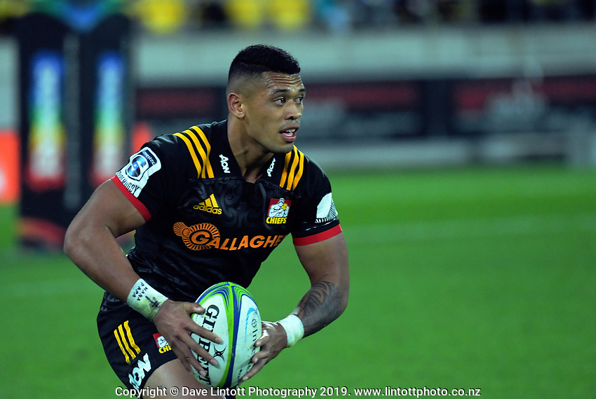 Chiefs' Etene Nanai-Seturo in action during the Super Rugby match between the Hurricanes and Chiefs at Westpac Stadium in Wellington, New Zealand on Friday, 27 April 2019. Photo: Dave Lintott / lintottphoto.co.nz