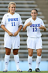 07 September 2007: Duke's Sara Murphy (11) and Lorraine Quinn (13). The Duke University Blue Devils defeated the Yale University Bulldogs 1-0 at Fetzer Field in Chapel Hill, North Carolina in an NCAA Division I Women's Soccer game, and part of the annual Nike Carolina Classic tournament.