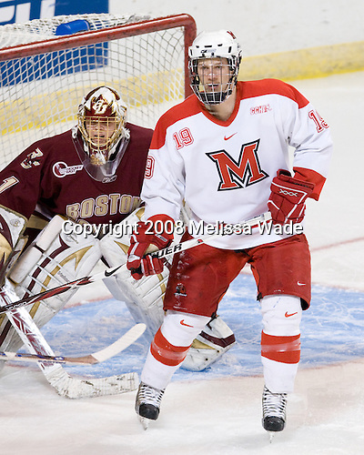 John Muse (BC - 1), Jarod Palmer (Miami - 19) - The Boston College Eagles defeated the Miami University RedHawks 4-3 in overtime on Sunday, March 30, 2008 in the NCAA Northeast Regional Final at the DCU Center in Worcester, Massachusetts.