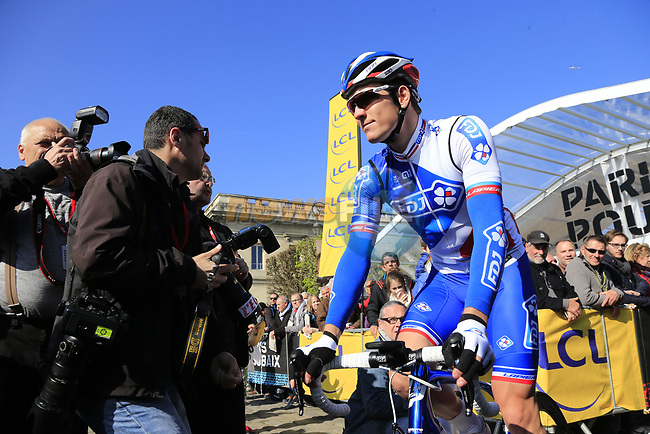 Arnaud Demare (FRA) FDJ at sign on for the 115th edition of the Paris-Roubaix 2017 race running 257km Compiegne to Roubaix, France. 9th April 2017.<br /> Picture: Eoin Clarke | Cyclefile<br /> <br /> <br /> All photos usage must carry mandatory copyright credit (&copy; Cyclefile | Eoin Clarke)