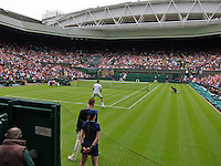 24-06-13, England, London,  AELTC, Wimbledon, Tennis, Wimbledon 2013, Day one, Roger Federer (SUI)<br /> <br /> <br /> <br /> Photo: Henk Koster