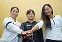 (L to R) <br /> Nao Hibino, <br /> Misaki Doi, <br /> Eri Hozumi (JPN), <br /> JULY 13, 2016 - Tennis : <br /> A press conference <br /> for Rio Olympic Games in Tokyo, Japan. <br /> (Photo by YUTAKA/AFLO SPORT)