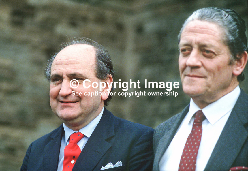 Gerry Collins, Minister for Justice, Rep of Ireland, left, with his foreign minister, Brian Lenihan,  on the steps, Stormont Castle following a meeting with Tom King, secretary of State for N Ireland. 19870504GC+BL.<br />
