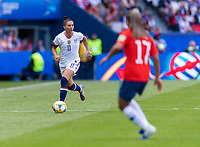 PARIS,  - JUNE 16: Ali Krieger #11 dribbles forward during a game between Chile and USWNT at Parc des Princes on June 16, 2019 in Paris, France.