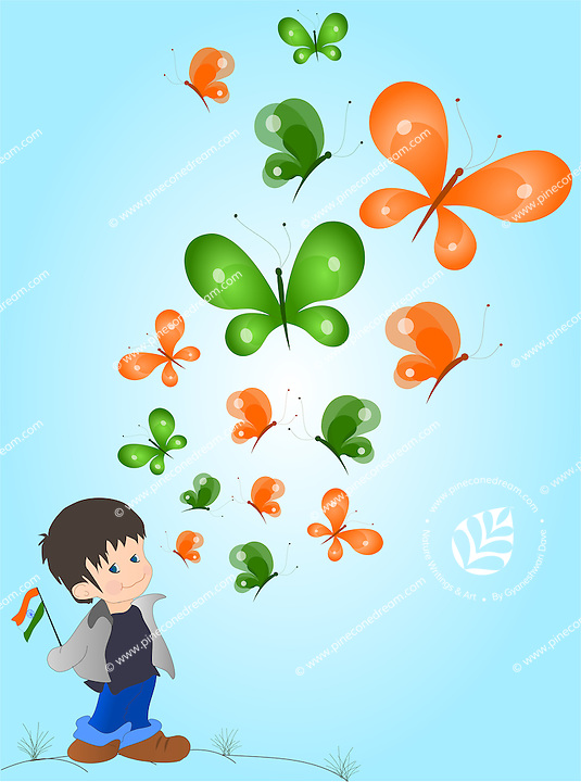 Vector background with Indian flag colors - cute little Indian boy looking at butterflies of Indian flag colors flying above him, holding national flag.<br />