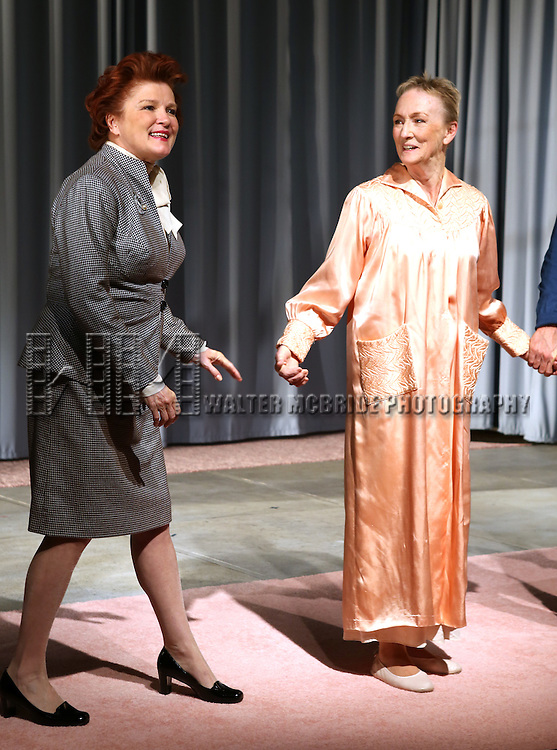 Kate Mulgrew, Kathleen Chalfant during the Opening Night Curtain Call for the Vineyard Theatre Production of 'Somewhere Fun' at the Vineyard Theatre in New York City on June 04, 2013.