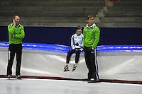 SCHAATSEN: HEERENVEEN: Thialf, 25-06-2012, Zomerijs, TVM schaatsploeg, trainer Gerard Kemkers, assistent-trainer Rutger Tijssen, Linda de Vries, ©foto Martin de Jong