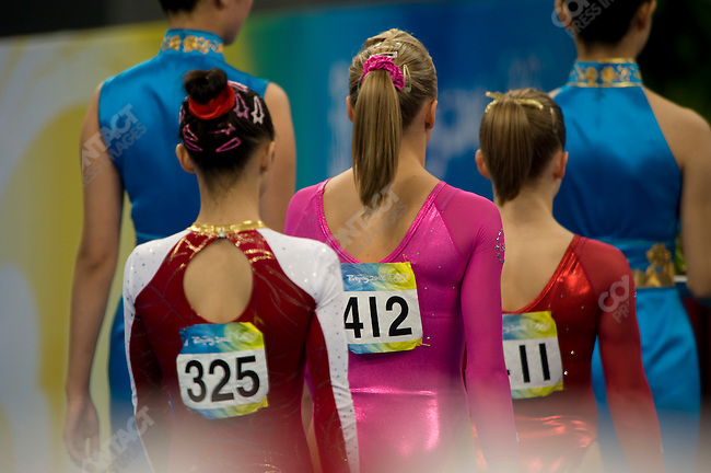 Yilin Yang (China) - bronze, Nastia Liukin (USA) - gold, Shawn Johnson (USA) - silver, Women's Gymnastics Individual All-Around final, National Stadium, Summer Olympics, Beijing, China, August 15, 2008