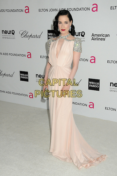 Dita Von Teese.20th Annual Elton John Academy Awards Viewing Party held at West Hollywood Park, West Hollywood, California, USA..February 26th, 2012.full length dress pink silver embellished jewel encrusted dress cut out neckline  .CAP/ADM/BP.©Byron Purvis/AdMedia/Capital Pictures.