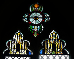 15th century tracery stained glass windows, Shimpling church, Suffolk, England, UK