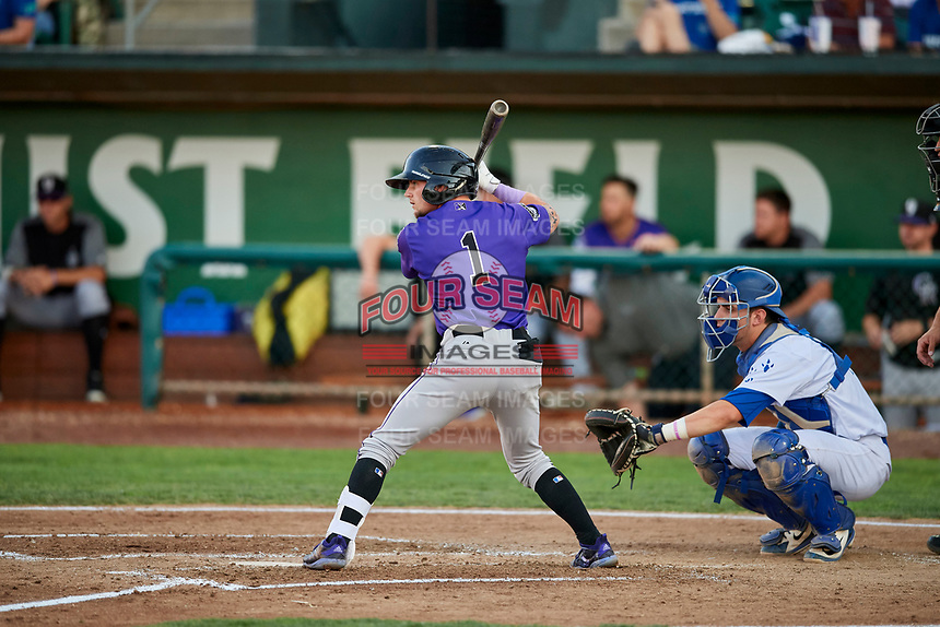 Hunter Stovall (1) of the Grand Junction Rockies bats in front of catcher Tre Todd (11) during a game against the Ogden Raptors at Lindquist Field on September 7, 2018 in Ogden, Utah. The Rockies defeated the Raptors 8-5. (Stephen Smith/Four Seam Images)