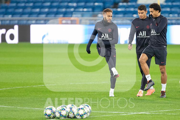 PSG's Players Neymar, Thiago Silva and Marquinhos during training session. <br /> November 25 ,2019.<br /> (ALTERPHOTOS/David Jar)