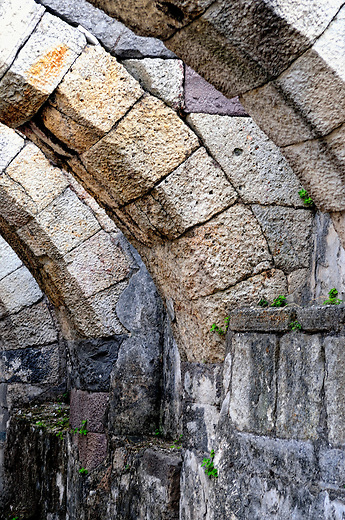 Stone arches from an ancient Smyrna Christian church in Izmir, Turkey
