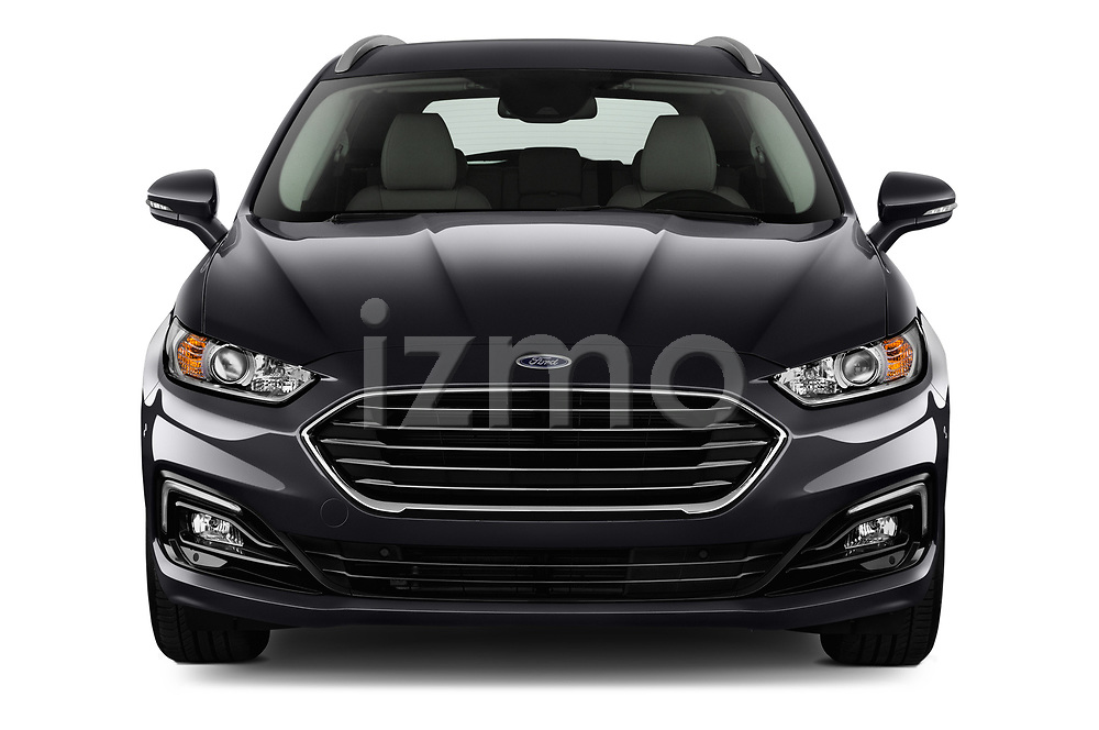 Car photography straight front view of a 2019 Ford Mondeo Clipper Hybrid 5 Door Wagon