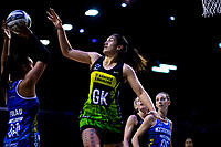 Sulu Fitzpatrick marks Maria Folau (left) during the ANZ Premiership netball match between the Central Pulse and Northern Mystics at TSB Bank Arena in Wellington, New Zealand on Wednesday, 1 August 2018. Photo: Dave Lintott / lintottphoto.co.nz