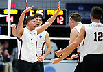KENOSHA, WI - APRIL 28:  Springfield College's Ricardo Padilla Ayala celebrates a kill with his teammates at the Division III Men's Volleyball Championship held at the Tarble Athletic and Recreation Center on April 28, 2018 in Kenosha, Wisconsin. (Photo by Steve Woltmann/NCAA Photos via Getty Images)