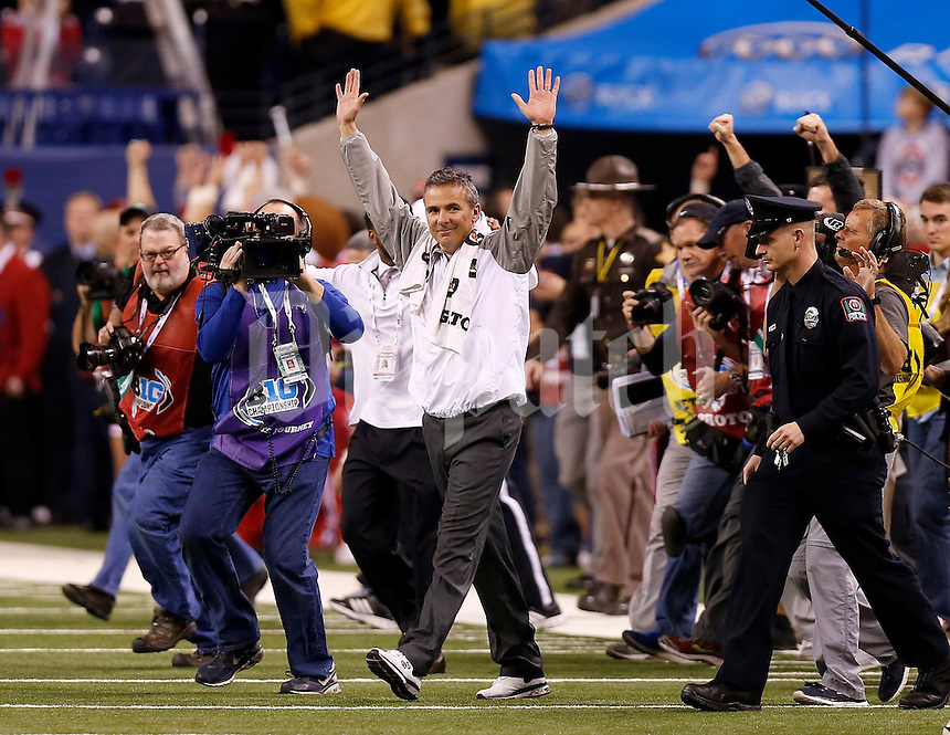 Ohio State Buckeyes head coach Urban Meyer following the Big Ten Championship game at Lucas Oil Stadium in Indianapolis on Saturday, December 6, 2014. (Columbus Dispatch photo by Jonathan Quilter)