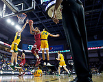 SIOUX FALLS, SD - MARCH 7: Jase Townsend #3 of the Denver Pioneers goes up for a layup against Tyson Ward #24 and Tyler Witz #44 of the North Dakota State Bison at the 2020 Summit League Basketball Championship in Sioux Falls, SD. (Photo by Richard Carlson/Inertia)