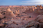 View of Cottonwood Teepees rock formations in Coyote Buttes