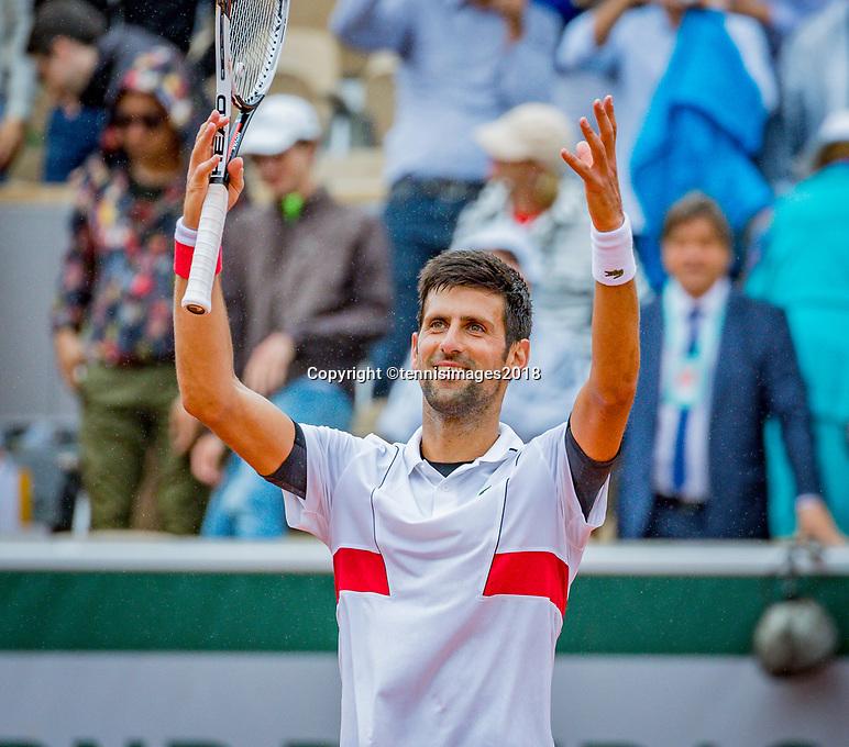 Paris, France, 01 June, 2018, Tennis, French Open, Roland Garros, Novak Djokovic (SRB) celebrates his win over Batista Agut (ESP)<br /> Photo: Henk Koster/tennisimages.com