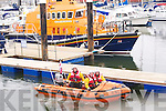 CREW: Guy Waugh,Lee Sugrue (Crew) and Kevin Deady (Helm Man) taken the Bradley and  Sonya inshore RNLI  lifeboat on a test run for bthe hundreds who showed up for the blessing and the launch ing of the Bradley and Sonya inshore RNLI Lifeboat on Satrurday.   ..................