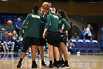 DURHAM, NC - NOVEMBER 05: Alaska Anchorage forwards huddle before the game. The Duke University Blue Devils hosted the University of Alaska Anchorage Seawolves on November 5, 2017 at Cameron Indoor Stadium in Durham, NC in a Division I women's college basketball preseason exhibition game. Duke won the game 87-56.