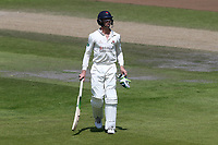 Keaton Jennings of Lancashire leaves the field having been dismissed for 0 during Lancashire CCC vs Essex CCC, Specsavers County Championship Division 1 Cricket at Emirates Old Trafford on 11th June 2018